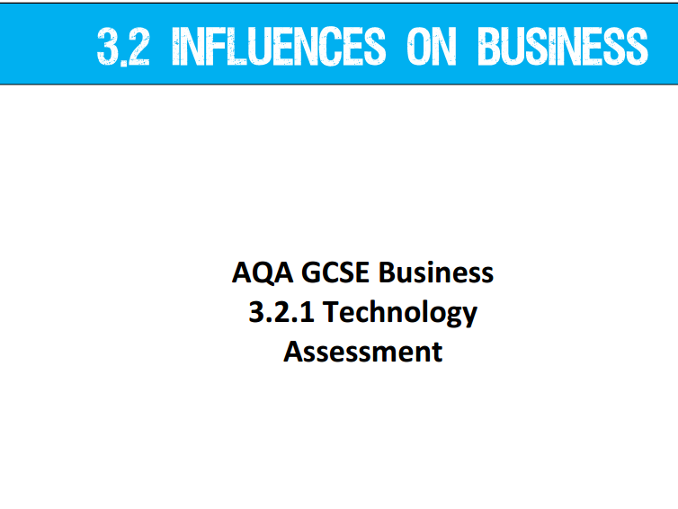 AQA GCSE Business (9-1) 3.2.1 Technology - Assessment
