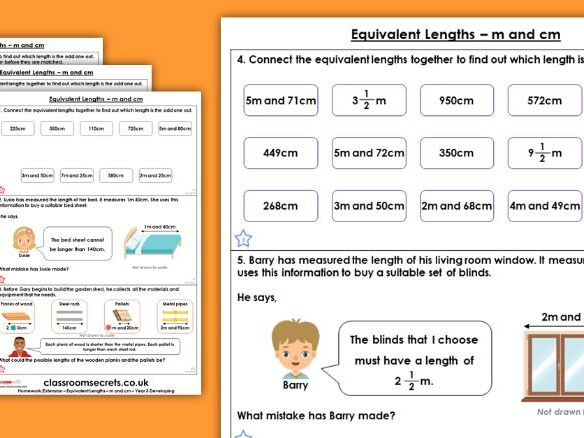 Year 3 Equivalent Lengths - m and cm Spring Block 4 Maths Homework Extension