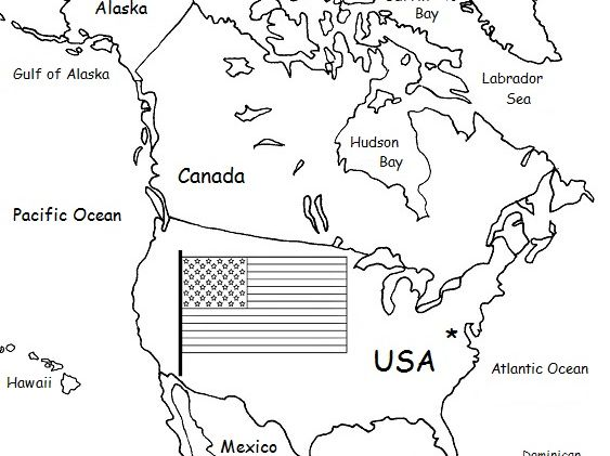 United States of America - Printable handout with map and flag