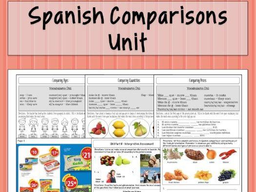 Spanish Comparisons Unit / Los Comparitivos