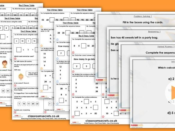 Year 2 The 5 Times Table Autumn Block 4 Step 8 Lesson Pack
