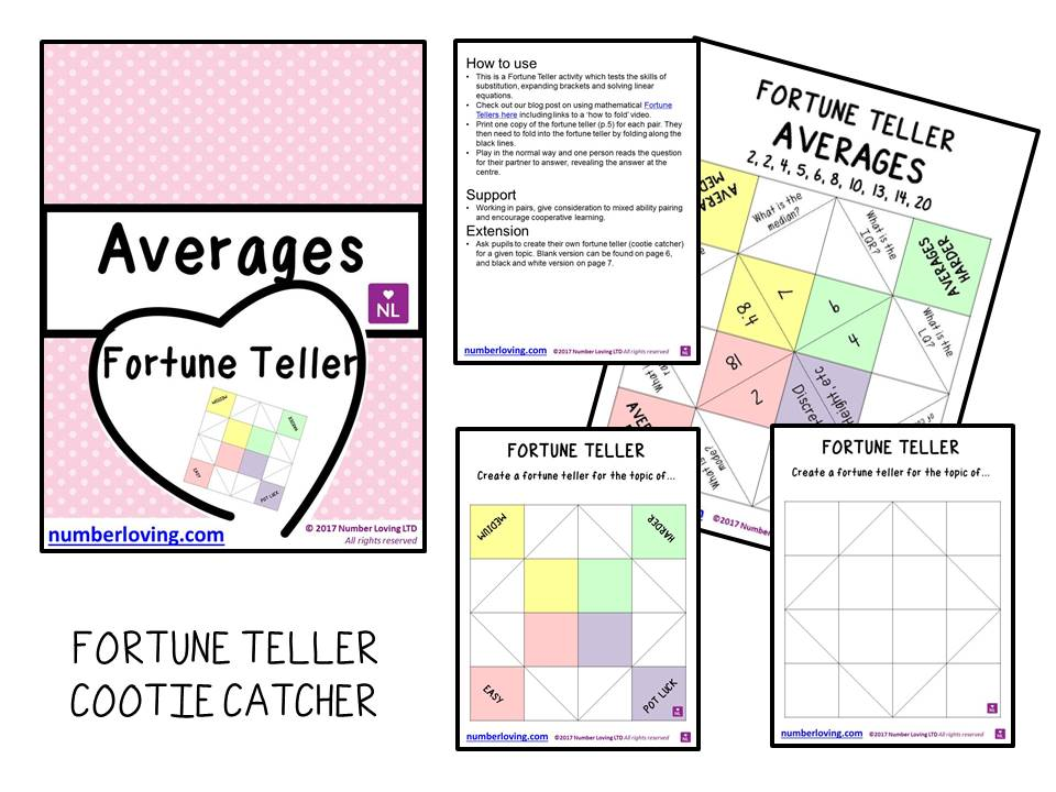 FREE Averages (Cootie Catcher)