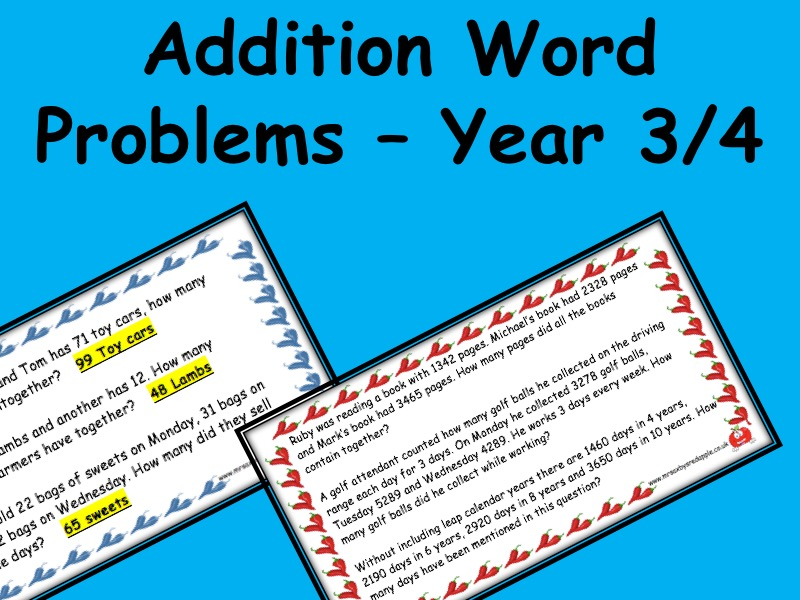 Addition Word Problems - year 3, 4, 5 - maths, with answers 3 levels of differentiation
