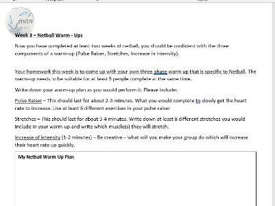 Netball Homework Booklet year 7 & 8