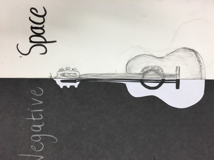 Positive and negative space drawing and collage lesson