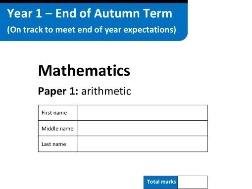 Mathematics Assessment Tests - Key Stage 1 - Autumn Term