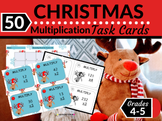 Christmas Math Task Cards-Multiplication of Two- and Three-Digit Numbers with No Regrouping