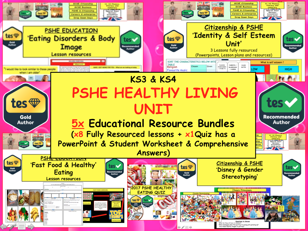 Healthy Eating / Identity / Body Image / Mental Health / Gender-  Unit  x8 PSHE Bundle