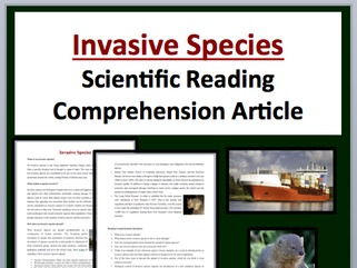 Invasive Species Comprehension Reading KS3 and KS4