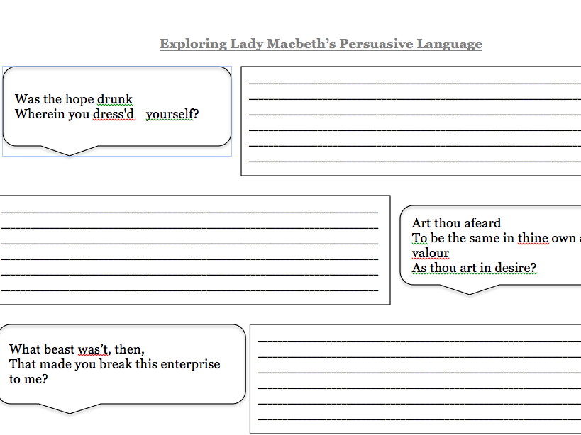 LADY MACBETH LANGUAGE EXPLORATION - AQA AO2 FOCUS