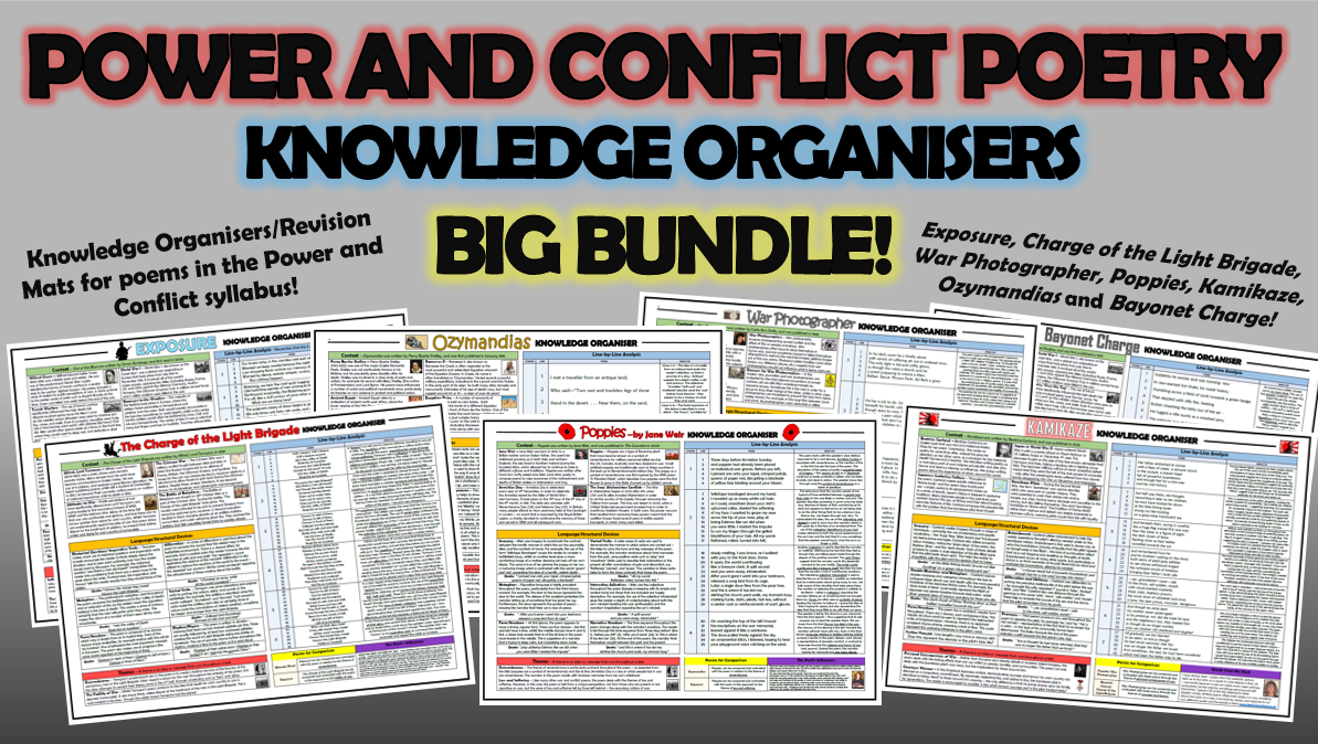 Power and Conflict Poetry Knowledge Organisers Big Bundle 1!