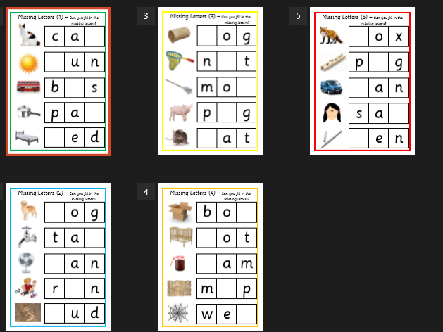 Cvc Words - Missing letters activity - first words - EYFS, SEN, Phonics, Literacy