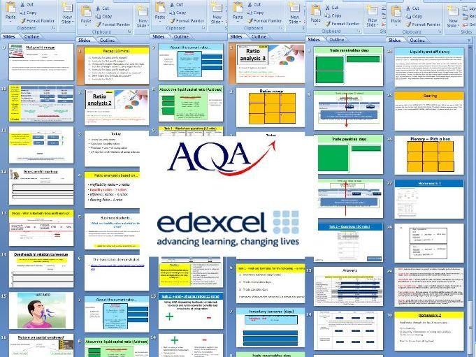 AQA Edexcel A Level Business Financial Ratio Analysis