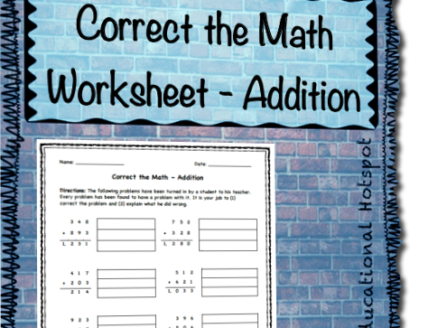 Correct the Math Worksheet (Addition)