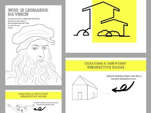 12 Page Colouring & Practical Art Learning From Home Book | Create Linear Perspective House Drawings