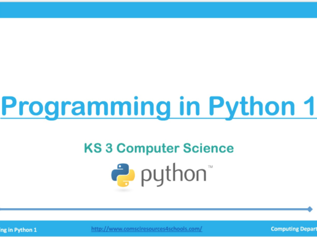 Programming in Python 1 (For KS3)