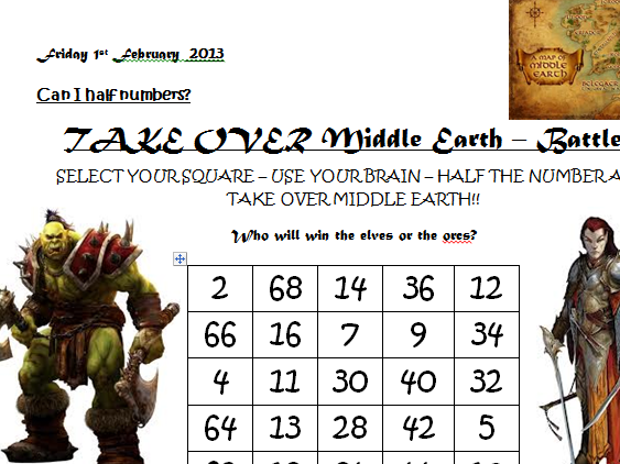 Maths - Lord of the Rings, Middle Earth, Halving, doubling operations game, starter, lesson.