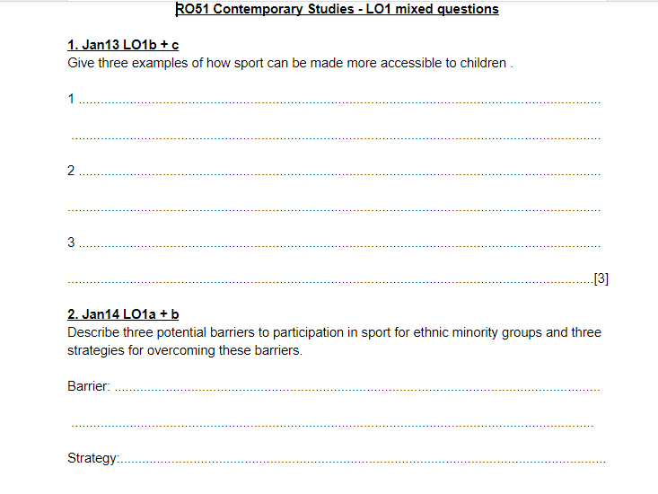 LO1 mixed questions and answers - OCR Cambridge National Sports Studies RO51