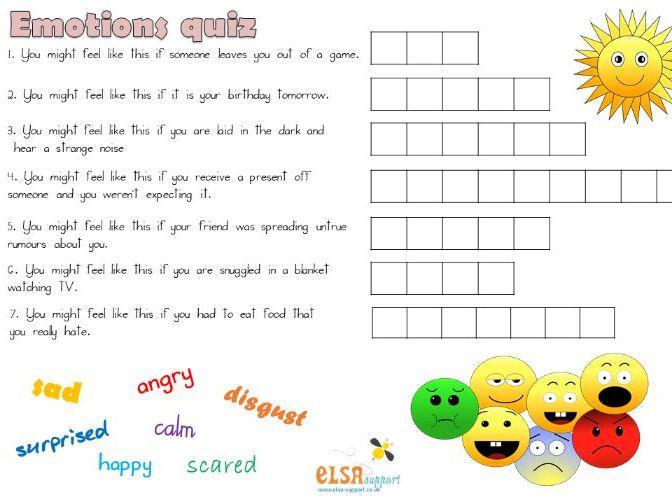 Emotions quiz - worksheet