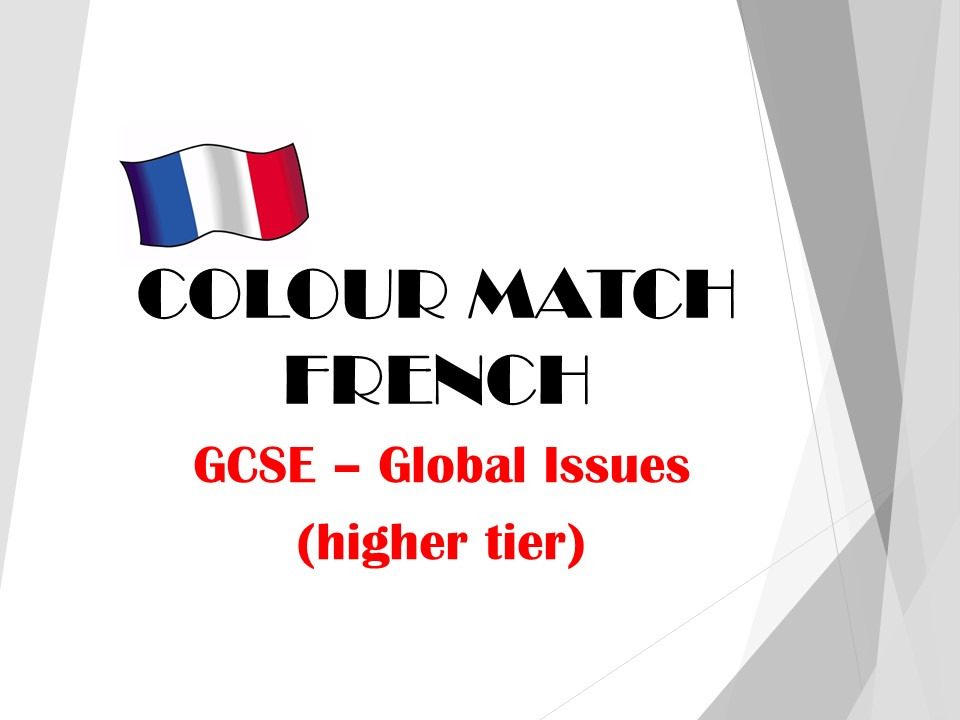 GCSE FRENCH - Global Issues (higher tier) - COLOUR MATCH