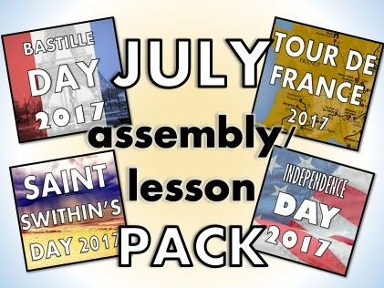 July Assembly Pack 2017 – Tour de France, Independence Day, St Swithin's Day, Bastille Day