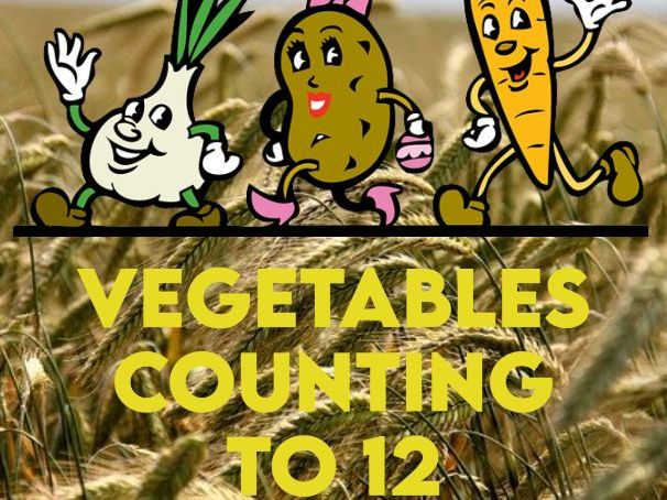 Vegetable Cartoon Characters Counting to 12 Activity