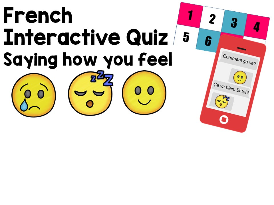 French Interactive Quiz : saying how you feel + emojis