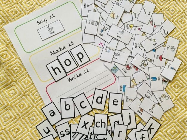 Phonics say it, make it, write it board, cards and alphabet sh,ch,wh,th,ll,ss,zz,ff