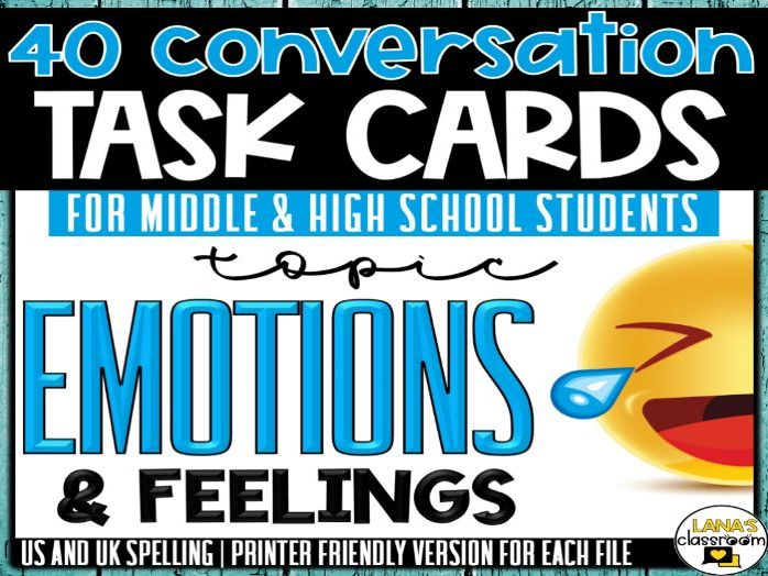 Conversation Starter Cards | Emotions&Feelings | Social Skills for Middle&High