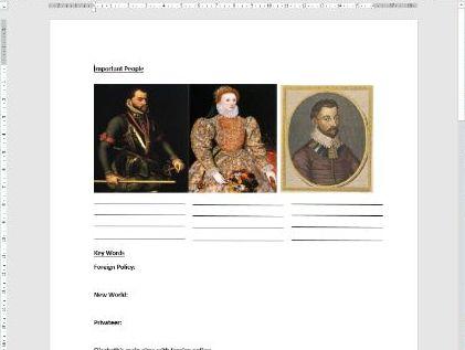 Edexcel Elizabeth I Worksheet: Relations with Spain
