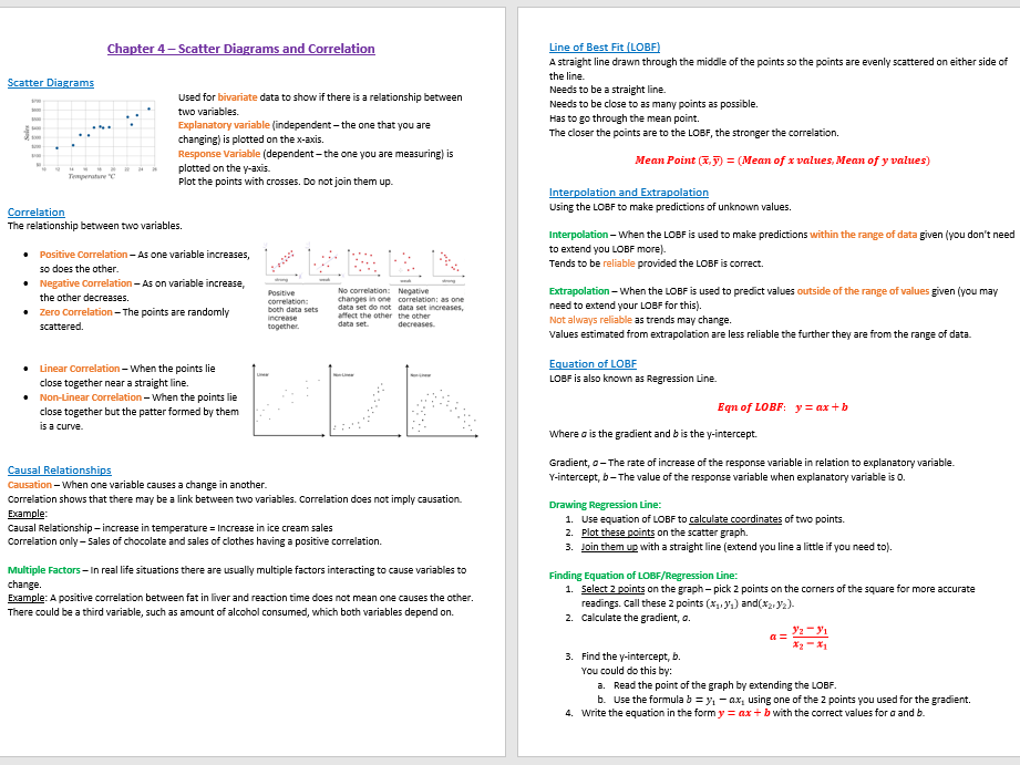 Scatter Diagrams and Correlation Revision Notes - GCSE Statistics (9-1)