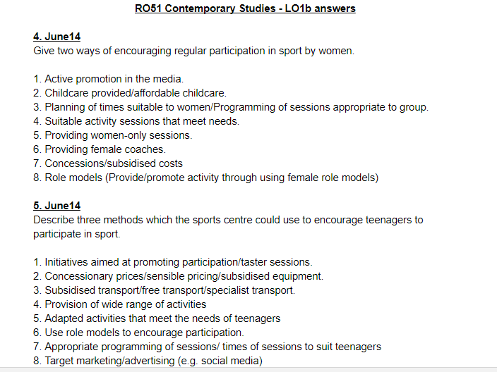LO1b questions and answers - OCR Cambridge National Sports Studies RO51