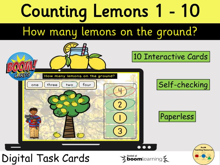 Counting 1 to 10 Lemons Fruit Tree BOOM Cards™ Distance Home Learning
