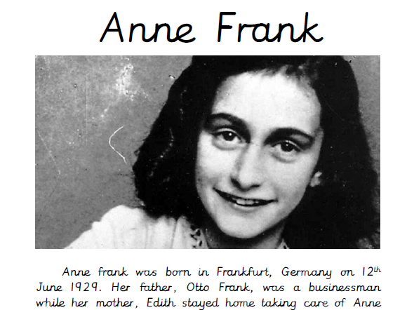 Anne Frank Guided Reading Comprehension
