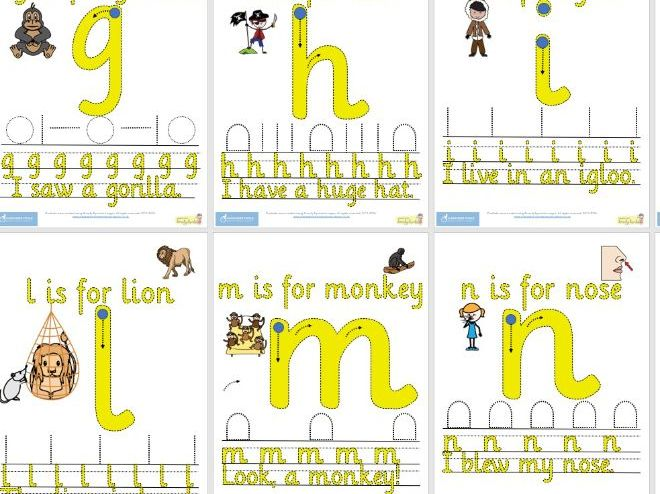 Alphabet handwriting cards