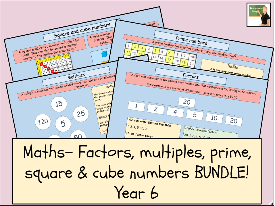 Maths- factors, multiples, square, cube & prime numbers