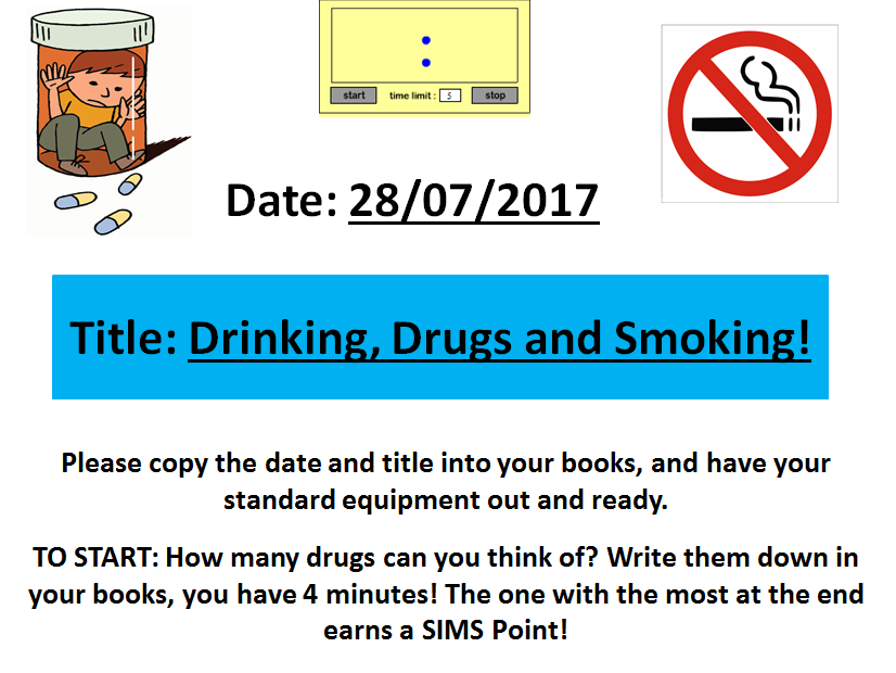 Drink, Drugs and Smoking! A Life Skills/Citizenship lesson for students