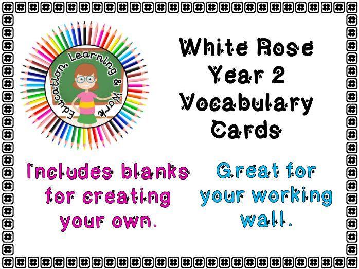 Maths Vocabulary Cards - Year 2 White Rose - SpringTerm