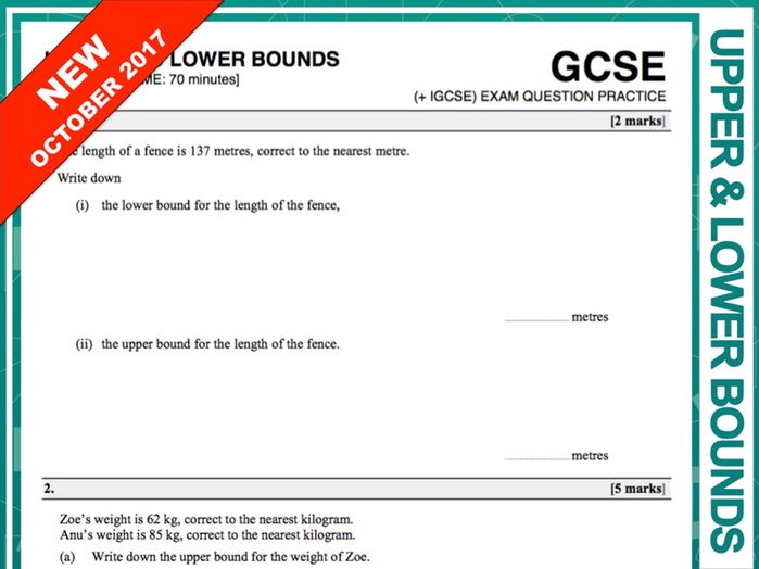 GCSE 9-1 Exam Question Practice (Upper + Lower Bounds)