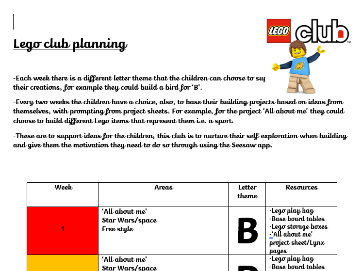 Lego club planning and resources