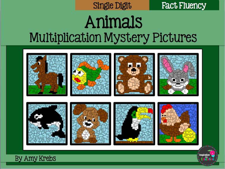 Multiplication Mystery Pictures - Animals