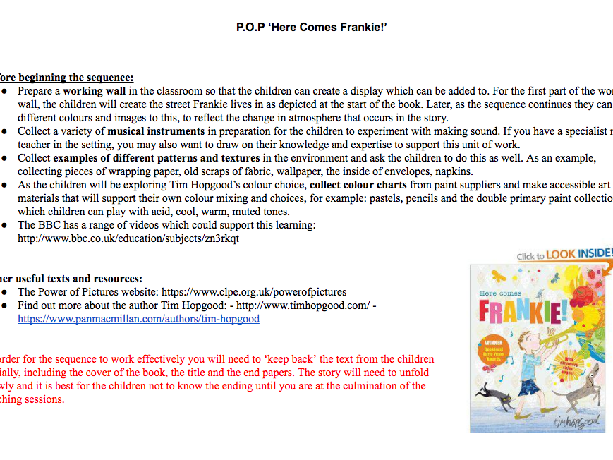 Here Comes Frankie by Tim Hopgood Unit of Literacy Planning and Resources.