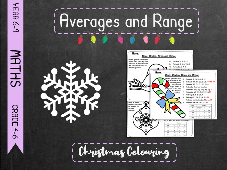 Averages and Range - Christmas Colouring