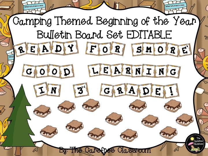 Bulletin Board Set EDITABLE: Camping Themed Back To Schoo Set