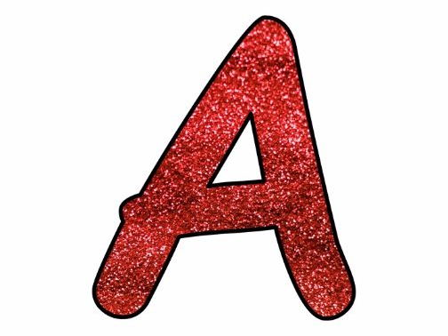 Printable display bulletin letters numbers and more: Red Glitter