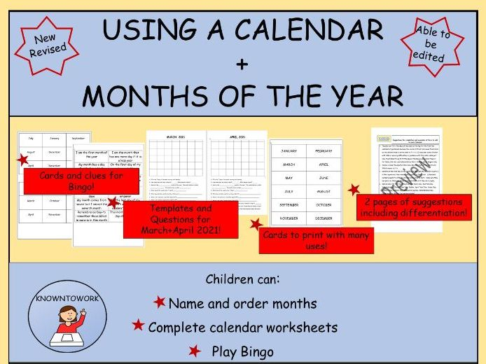 Months of the Year and using a Calendar