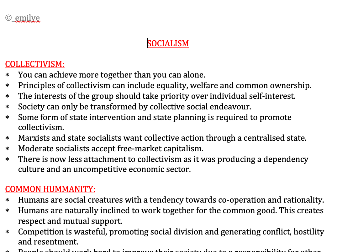 Political Ideas - Edexcel Politics A-Level 9PL0