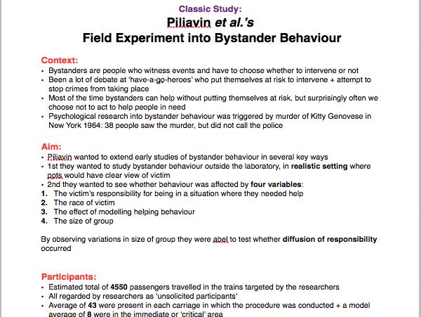 Psychology A level: Piliavin + Levine case studies (details, evaluations and comparison)