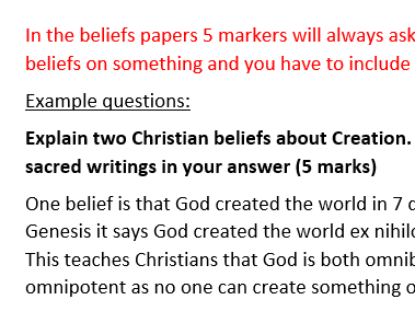 RS GCSE AQA Christian beliefs and practices perfect exam answers