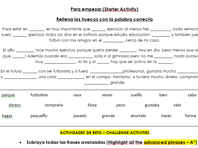A full set of resources with lesson plan on sports and activities for challenge (GCSE Spanish).